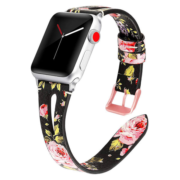 Breathable Leather Floral Bands Apple Watch 5 4 3 2 1 - BandGet