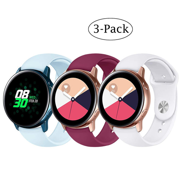 3Pack 20mm Stylish Sport Silicone Bands for Samsung Gear Sport - BandGet