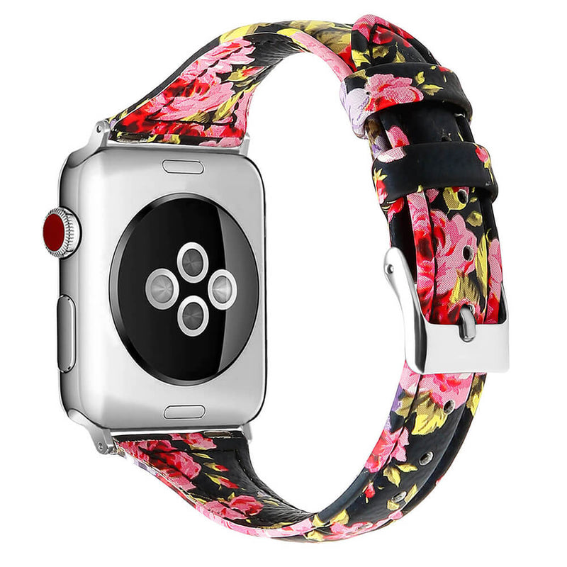 Slim Leather Floral Straps for Apple Watch 5 4 3 2 1 - BandGet