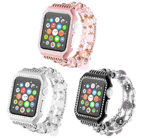 Luxury Rhinestone Case Wristband for Apple Watch 3 2 1