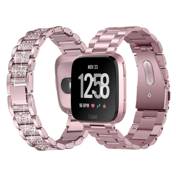 2-Packs Bling Stainless Steel Bands for Fitbit Versa Lite / Versa - BandGet