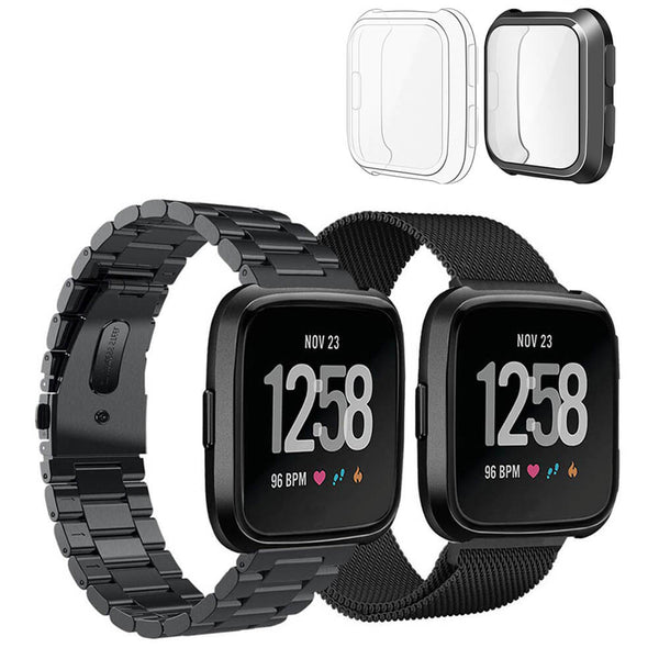 2 Packs Milanese Stainless Steel Bands for Fitbit Versa with Screen Protectors - BandGet