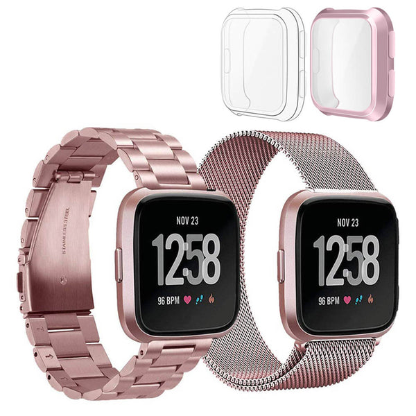 2 Packs Milanese Stainless Steel Bands for Fitbit Versa Lite with Screen Protectors - BandGet