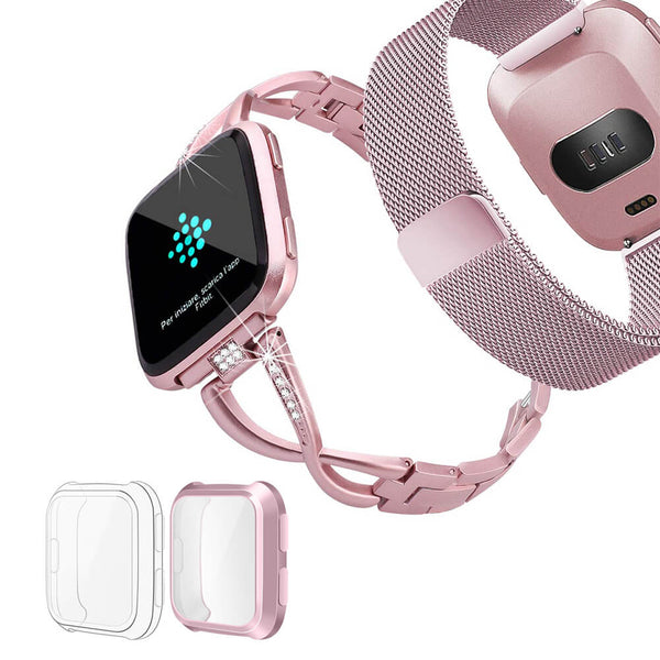 2 Pack Metal Milanese Bands for Fitbit Versa Lite with Screen Protectors - BandGet