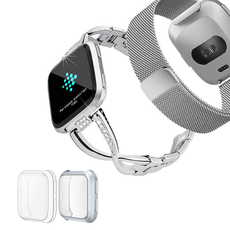 2 Pack Metal Milanese Bands for Fitbit Versa with Screen Protectors - BandGet