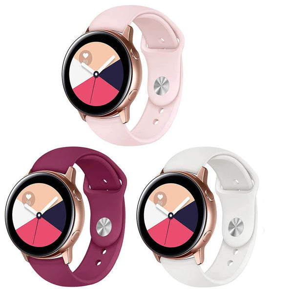 3 Pack Silicone Bands for Samsung Galaxy Watch Active 2 / Active - BandGet