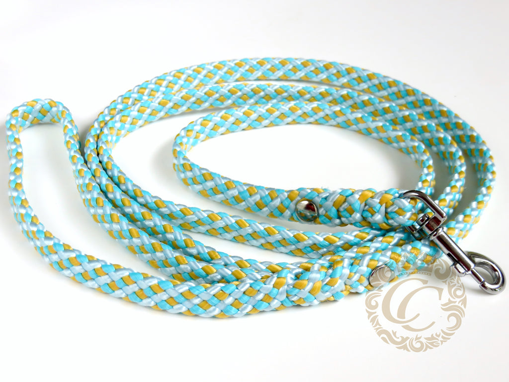 Dog leash for small & medium dogs Sky Blue Yellow | Dog Collars | Cat Collars | CollarCrafts