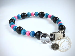 "Dog collar ""Black Blue Pink"" 