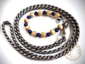 Dog leash for medium & large dogs Beige Blue |  collarcrafts | leash handmade