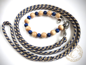 "Dog collar ""Beige Blue"" 