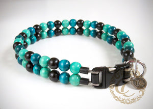"Dog collar ""Double Midi Turquoise"" 