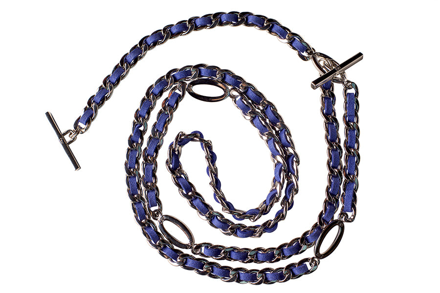 Limited Edition * Silver and Royal Blue Weave Adjustable Handbag Chain