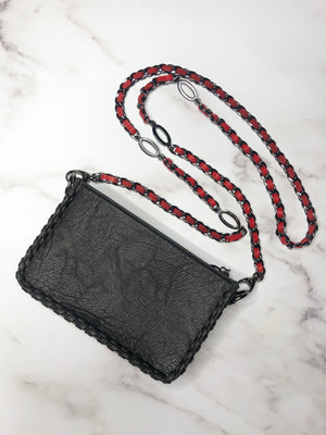 Gunmetal & Red Weave Adjustable Handbag Chain