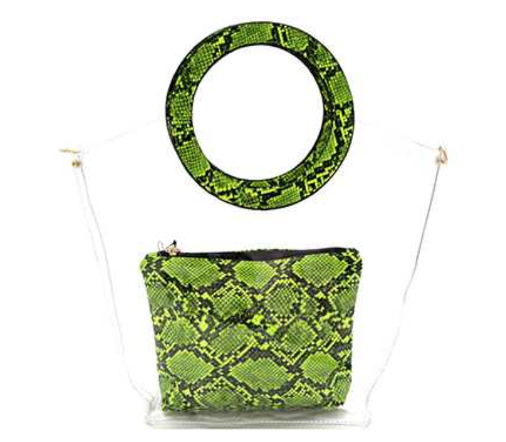 CLEAR SNAKE PRINT HANDLE 2 IN 1 SATCHEL