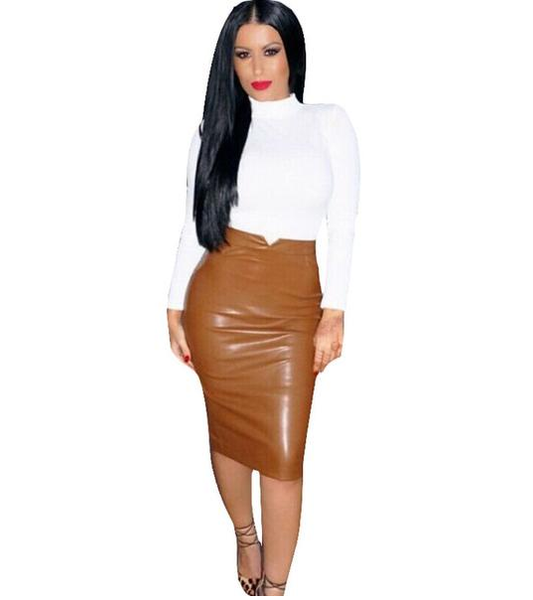 Women's Bodycon Leather Pencil Skirt