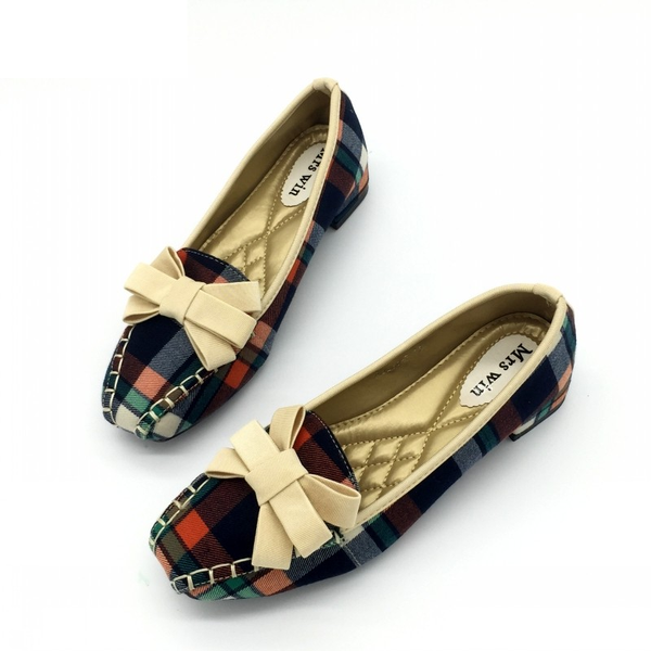 Women's Gingham Plaid Bowtie Slip On Loafers