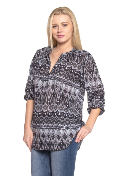 Women's 3/4 Three Quarter Sleeve Button Front Top-105 Hillside