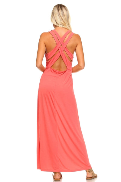 Women's Halter Maxi Dress with Cross Back Straps-105 Hillside