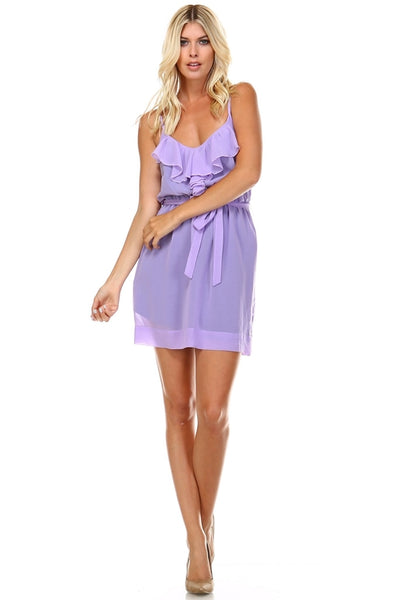 Women's Sleeveless V-Neck Ruffle Detail Dress-105 Hillside