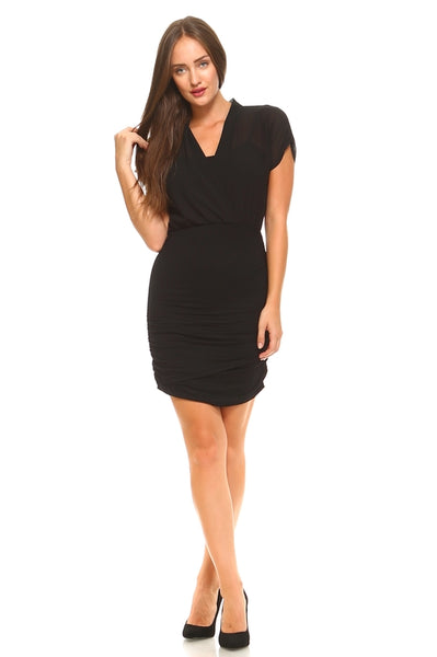 Women's Elastic Waist Cross T-Shirt Dress-105 Hillside