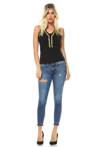 Women's Sleeveless A-Line Top with Chain Details-105 Hillside