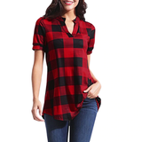 Women's Plaid Short Sleeve Tunic Top