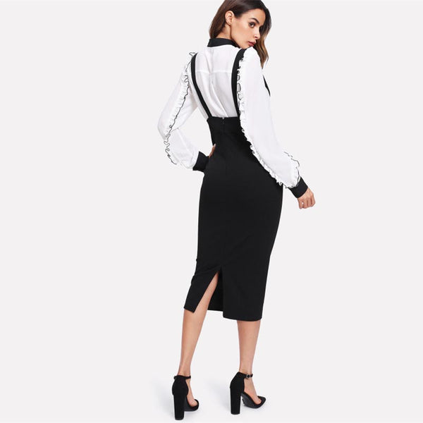 Women's Slit Pencil Skirt With Strap