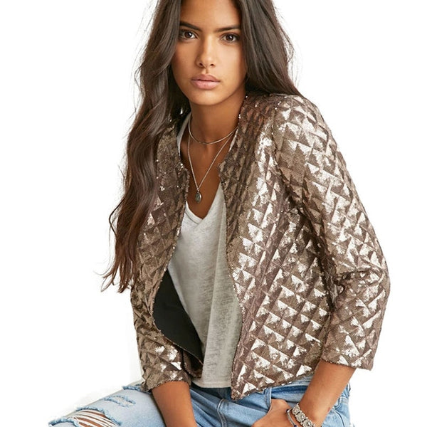 Women's Vogue Gold Sequin Jacket