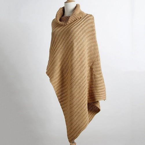 Women's High Collar Shawl Poncho