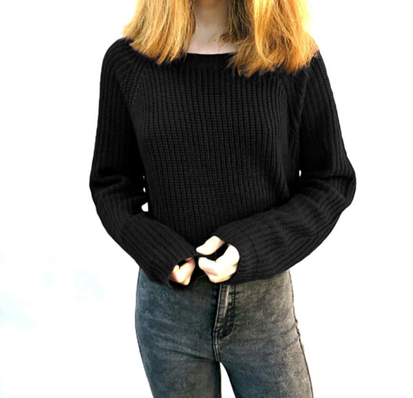 Women's Casual Knit Crop Sweater-105 Hillside