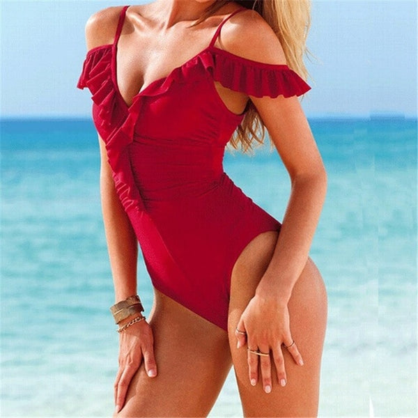 Women's High Cut Backless One Piece Swimsuit HS017
