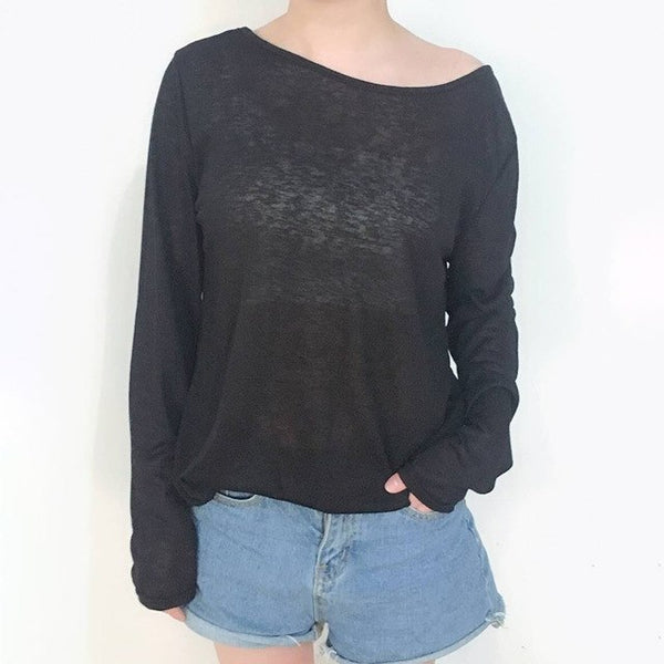 Women's Solid See Through Long Sleeve Shirt