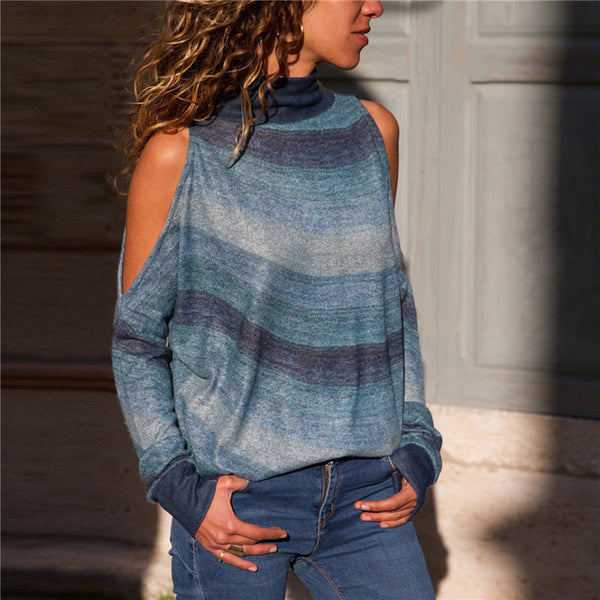 Women's Cold Shoulder Vintage Turtleneck Knitted Top