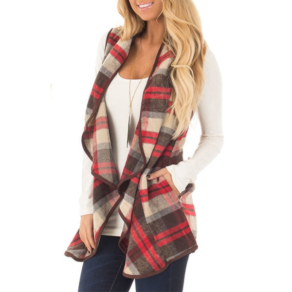 Women's Buffalo Plaid Open Front Lapel Jacket