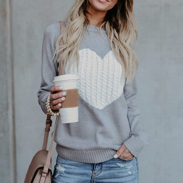 Women's Heart Pattern Printed Loose Knitted Sweater