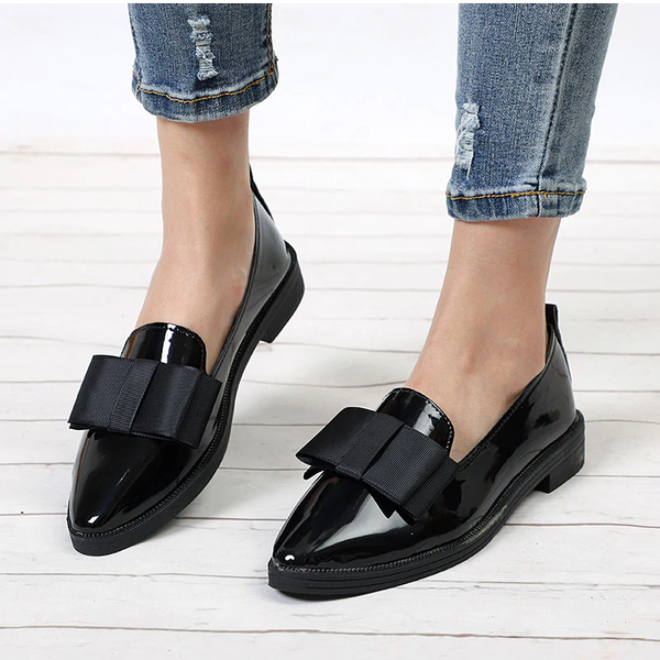 Women's Patent Leather Bowtie Loafers