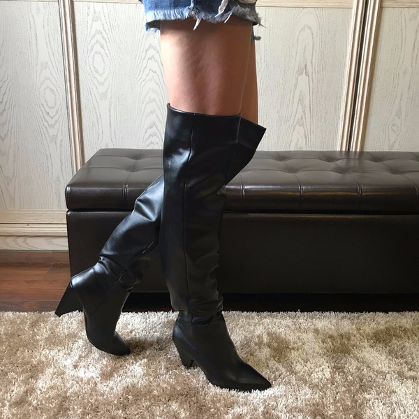 Women's Over The Knee Leather Thigh High Boots