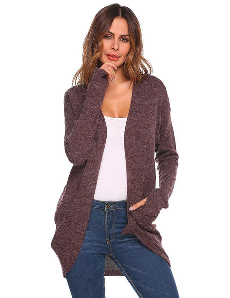 Women's Thumb Hole Solid Cardigan