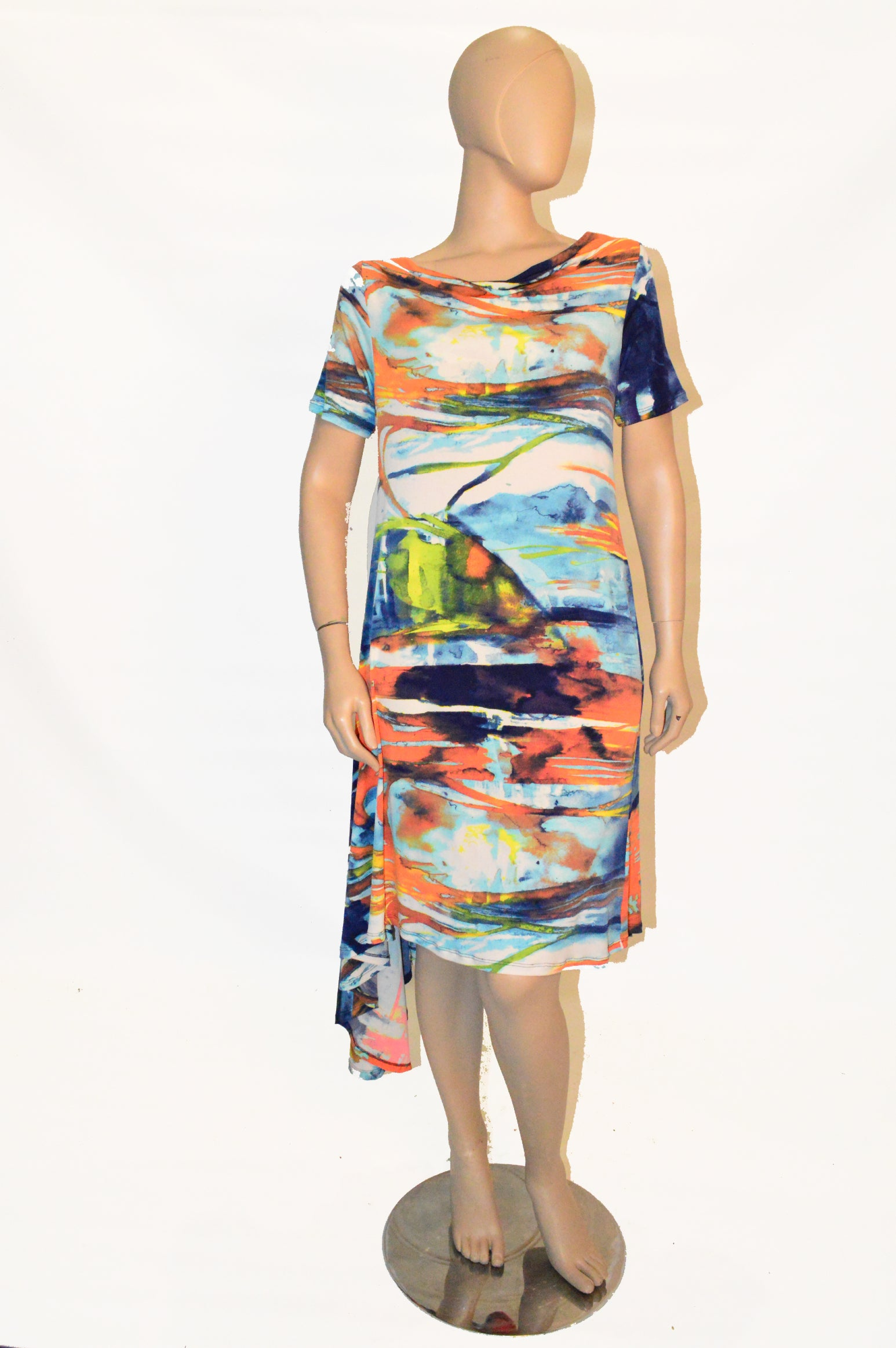 Keshni dress Blue & Orange Print
