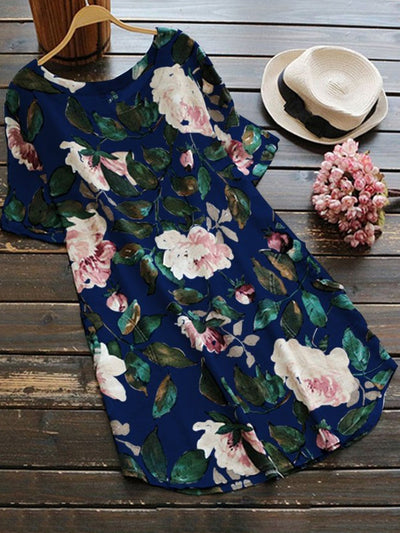 Navy Blue Short Sleeve Linen Floral Printed Plus Size Blouses & Shirt - fashionnana
