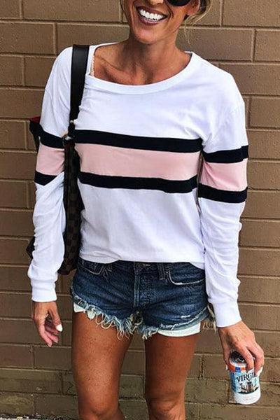 Chiczora O Neck Striped Sweatshirt T-shirts(4 Colors)