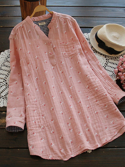 Cute Printed Stand Collar Blouse