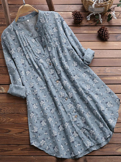 Pleated Floral Print Irregular Long Sleeve Casual Blouse