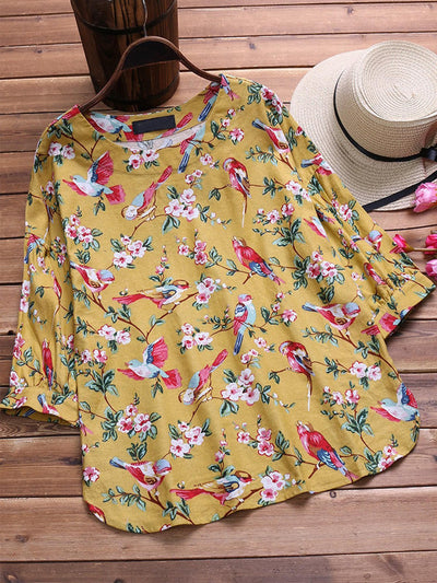 Floral Printed Long Sleeve Vintage Blouse
