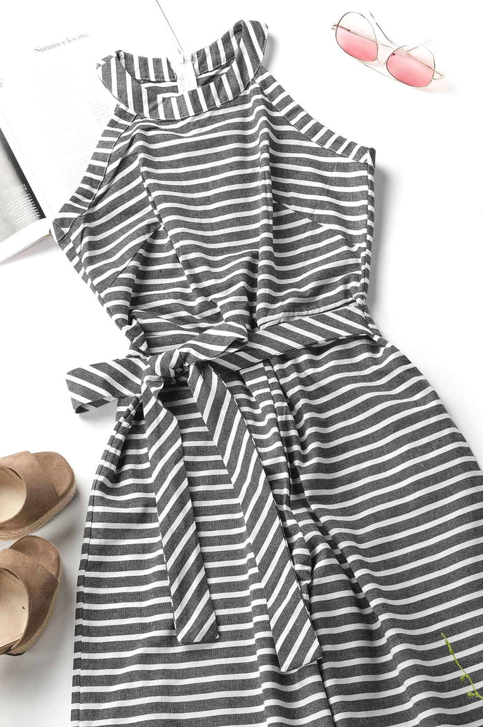 bfb3c62ccc2c Click to enlarge. Home Chiczora Bohemian Round Neck Striped Jumpsuits