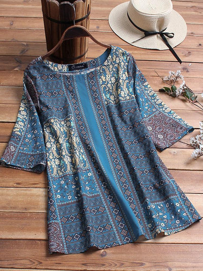 Vintage Ethnic Print Patchwork 3/4 Sleeve Plus Size Blouse