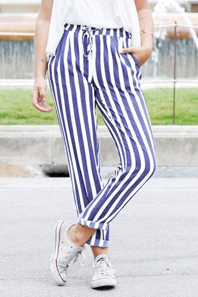Chiczora Self Belt Elastic Waist Striped Pants with Pockets