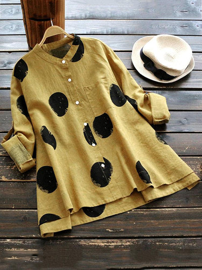 Casual Polka Dot Irregular Long Sleeve Stand Collar Women Blouses - fashionnana