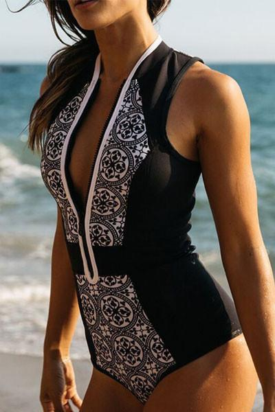 Beachsissi Floral Vintage Style One-piece Swimsuit