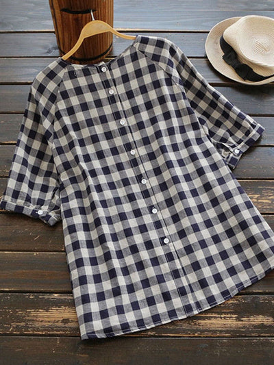 Chic Black Plaid Half Sleeve Crew Neck Shirt